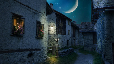 Walk through the medieval city under the moonlight