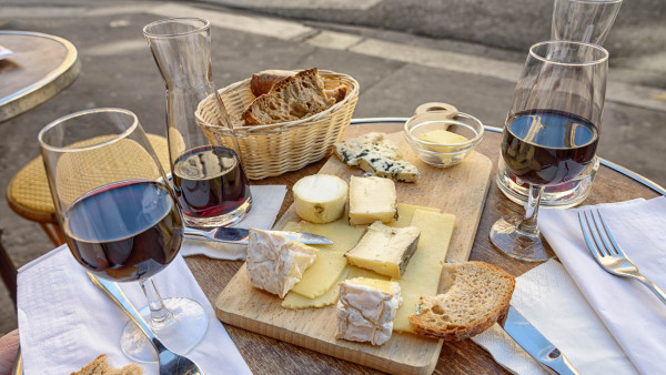 Cheese, wine and bread. Good food and drink