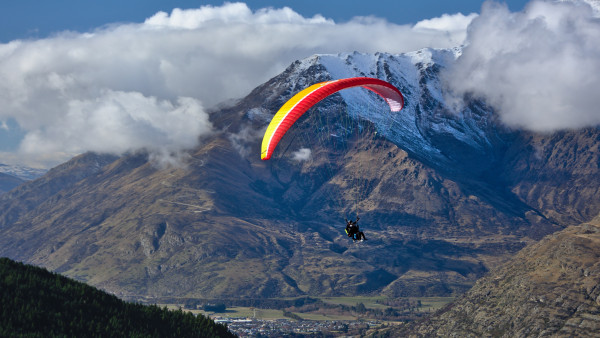 Paraglider up in the sky