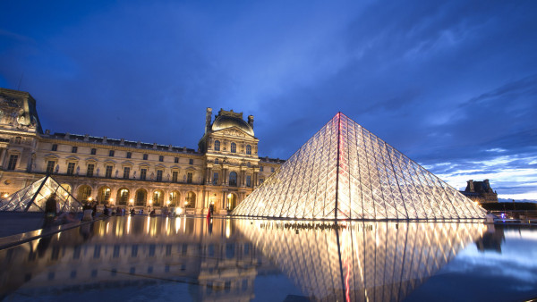 Louvre pyramid and museum