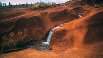 Waterfall in the arid landscape