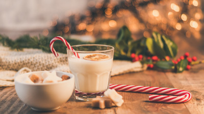 Seasonal Christmas sweets and cup of milk