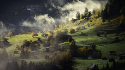 Fog, landscape and a village