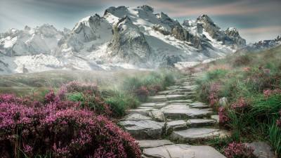 Surreal mountain landscape