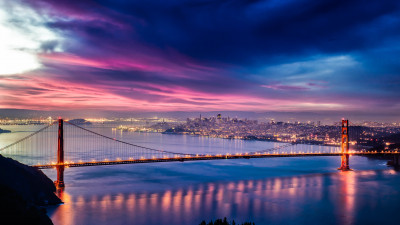 Skyfire over San Francisco Bay Bridge