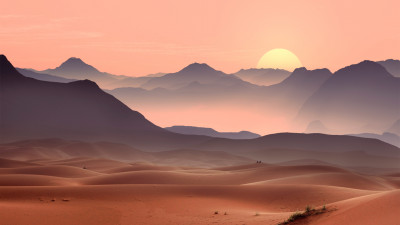Sunset on the desert dunes