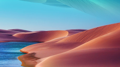 Desert dunes, lake, blue sky, hot day