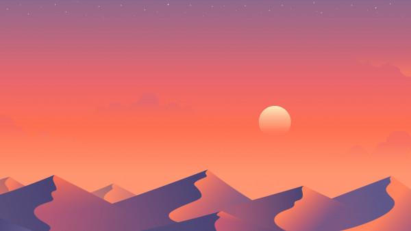 Illustration Desert Nights 2 Desktop Wallpaper 5k