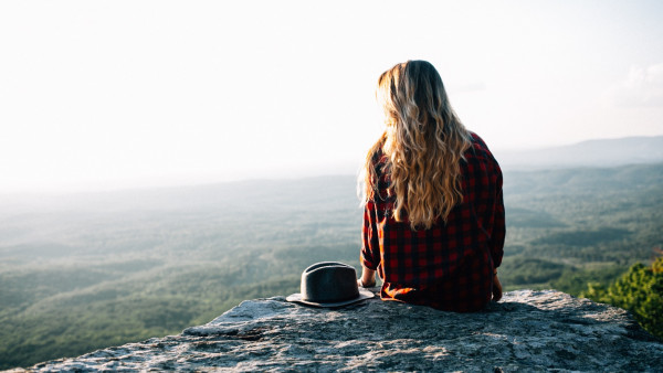 Lady admiring the natural view from Cheaha Mountains, USA