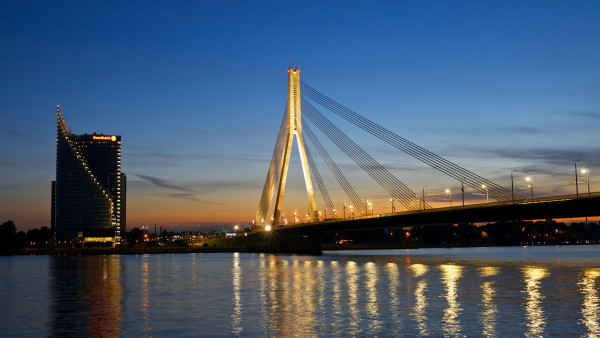 Bridge at sunset from Riga