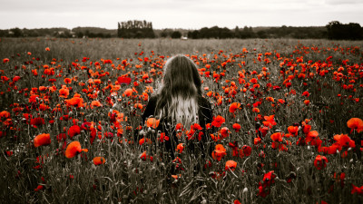 Girl in the field with red poppies