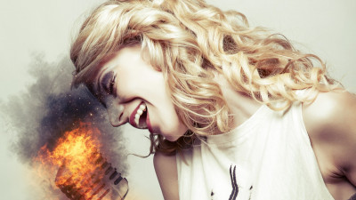 Singer, microphone, illustration, fire