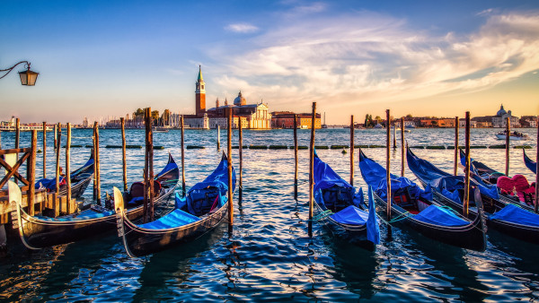 Gondolas from Venice at sunset