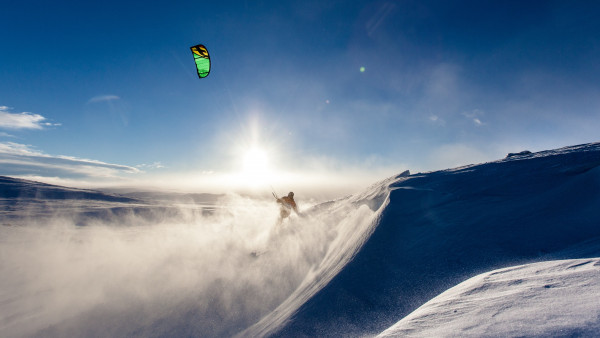 Kiteboarder on snow