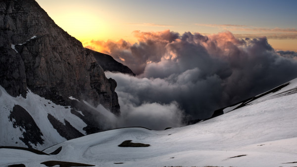 Sunset, snow, mountains, super landscape
