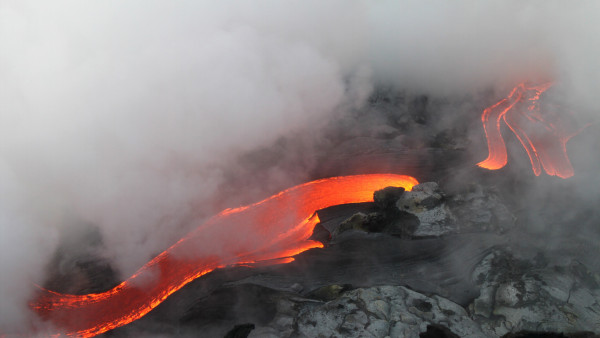 Flowing hot lava