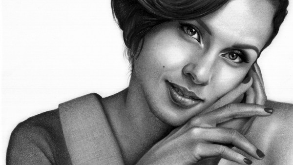 The drawn portrait of Alicia Keys
