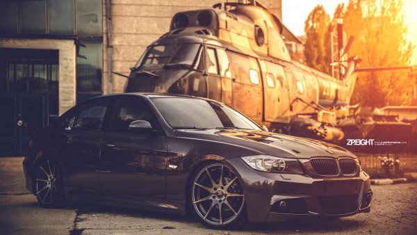 BMW E90 and one helicopter
