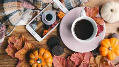 Autumn, coffee, pumpkins, leaves