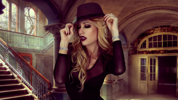 Glamour, hat, portrait, blonde, model