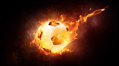 The football ball is on fire