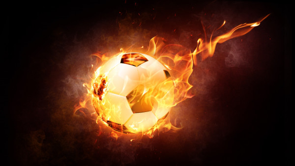 The Ball On Fire Soccer Football Sports Qhd Wallpaper 2: The Football Ball Is On Fire