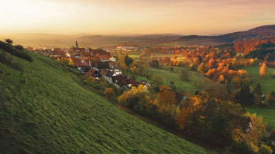 Autumn, sunset, landscape, village