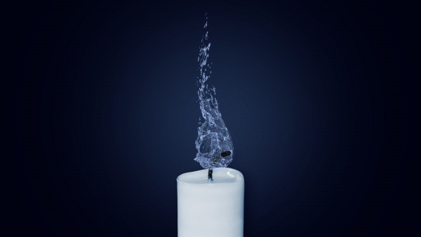 Water Flame. Candlelight