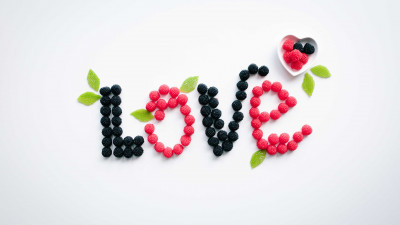 Love message with fruits