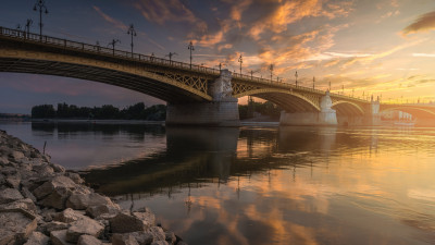 Margaret Bridge over Danube river