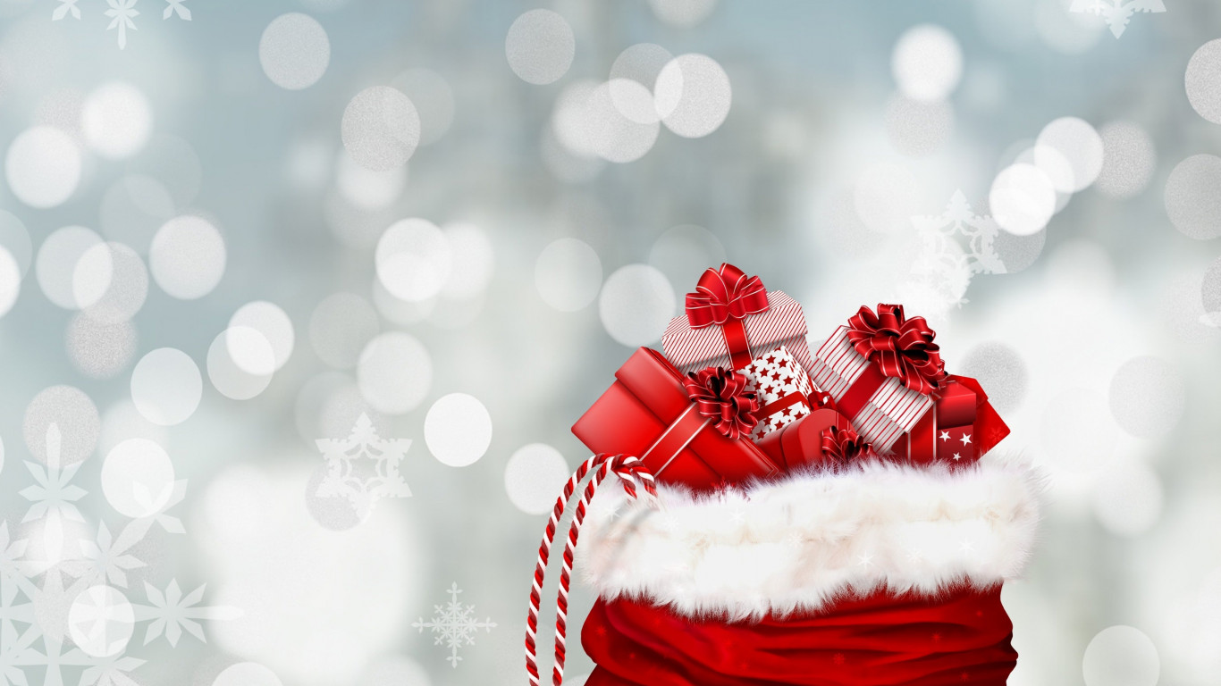 Bag with Christmas gifts wallpaper 1366x768