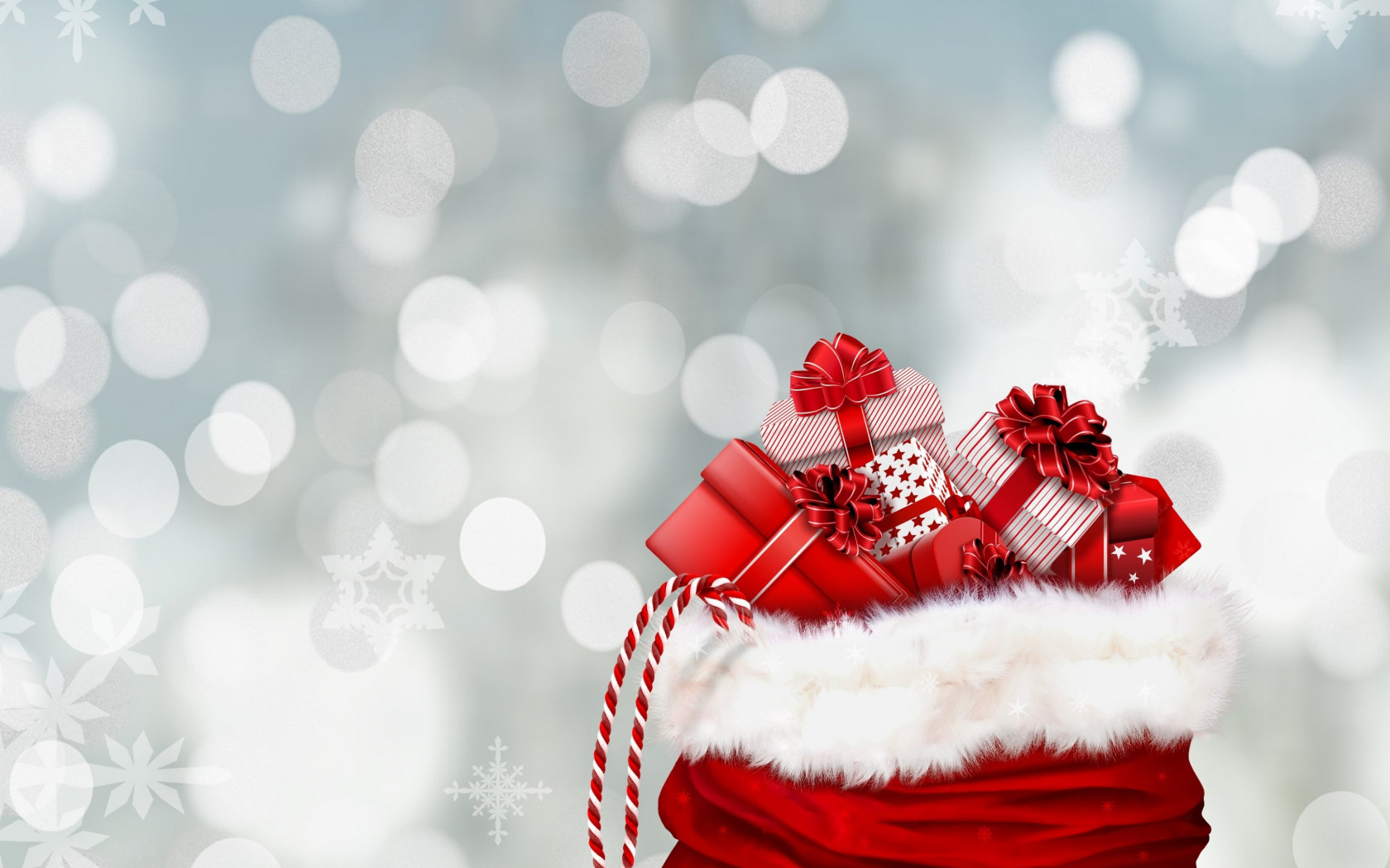 Bag with Christmas gifts wallpaper 1680x1050