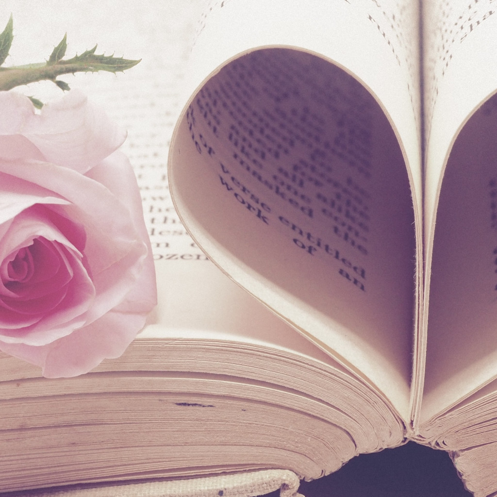 Rose flower and love book wallpaper 1024x1024
