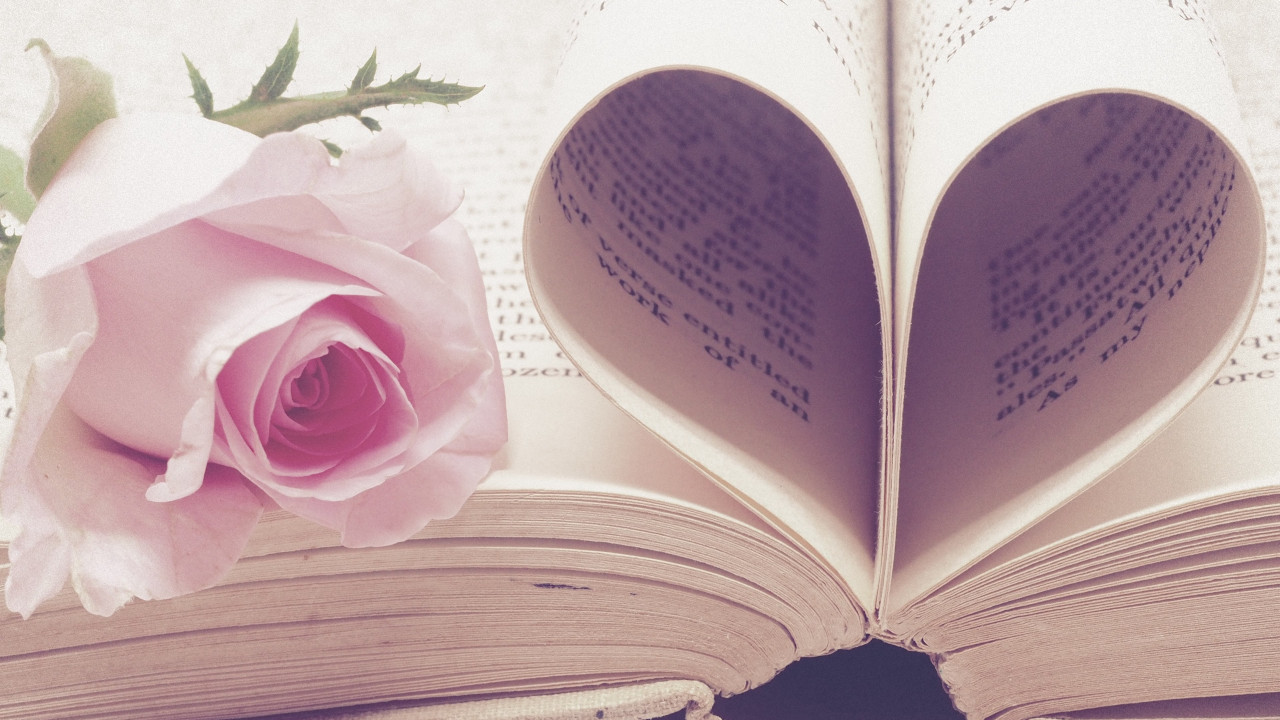 Rose flower and love book wallpaper 1280x720