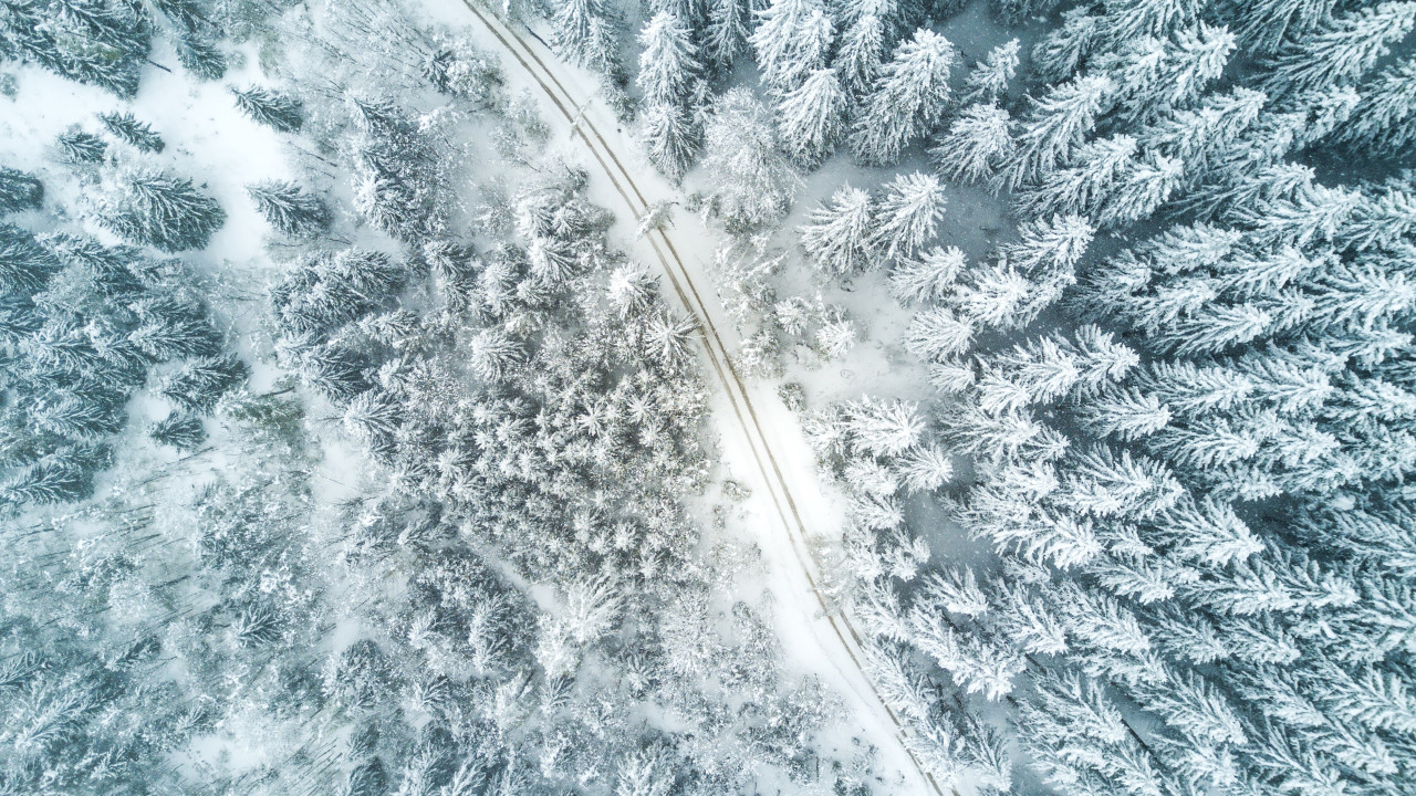 Aerial Winter landscape wallpaper 1280x720