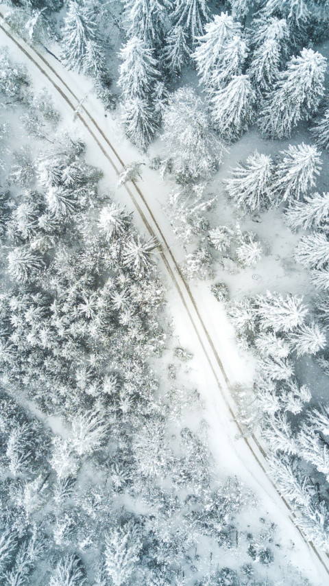 Aerial Winter landscape wallpaper 480x854