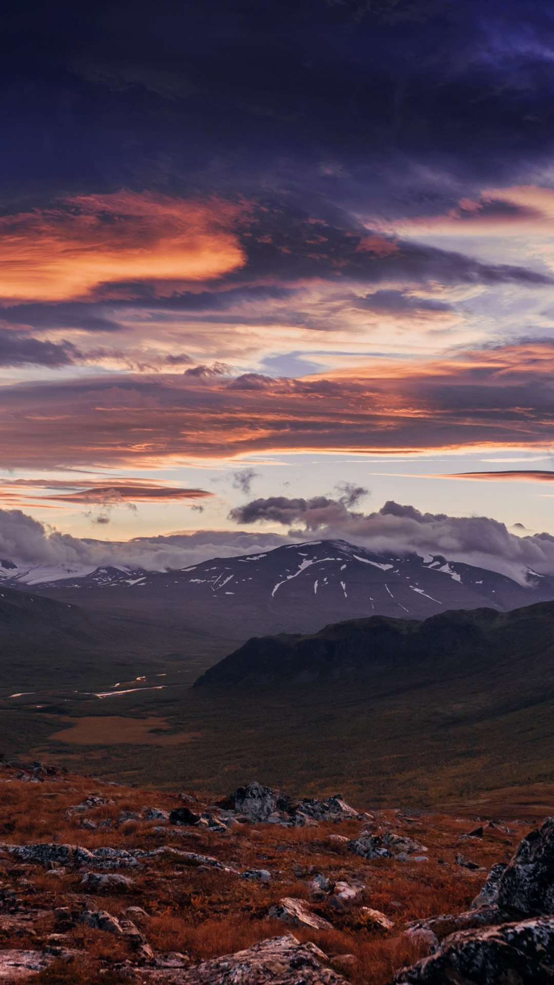 Sunset from Sarek National Park wallpaper 1080x1920