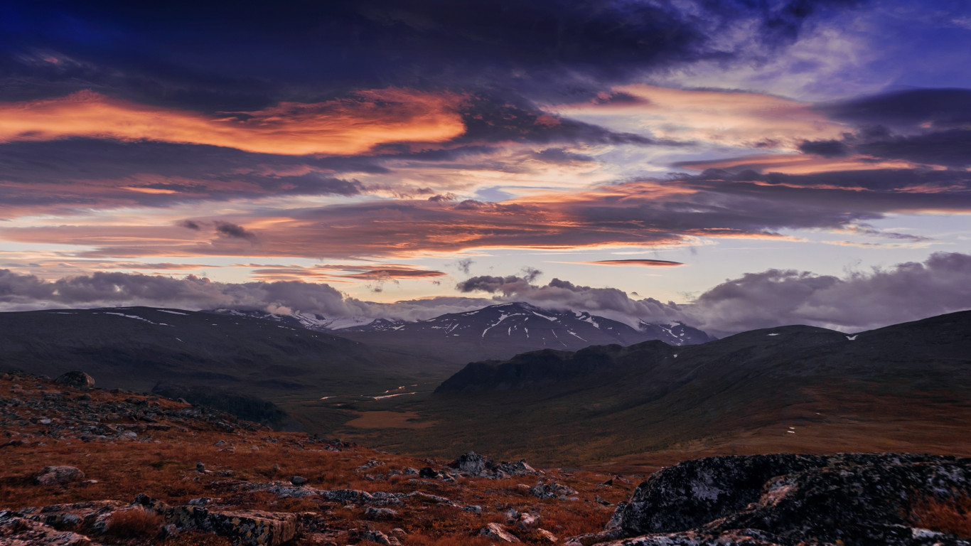 Sunset from Sarek National Park wallpaper 1366x768