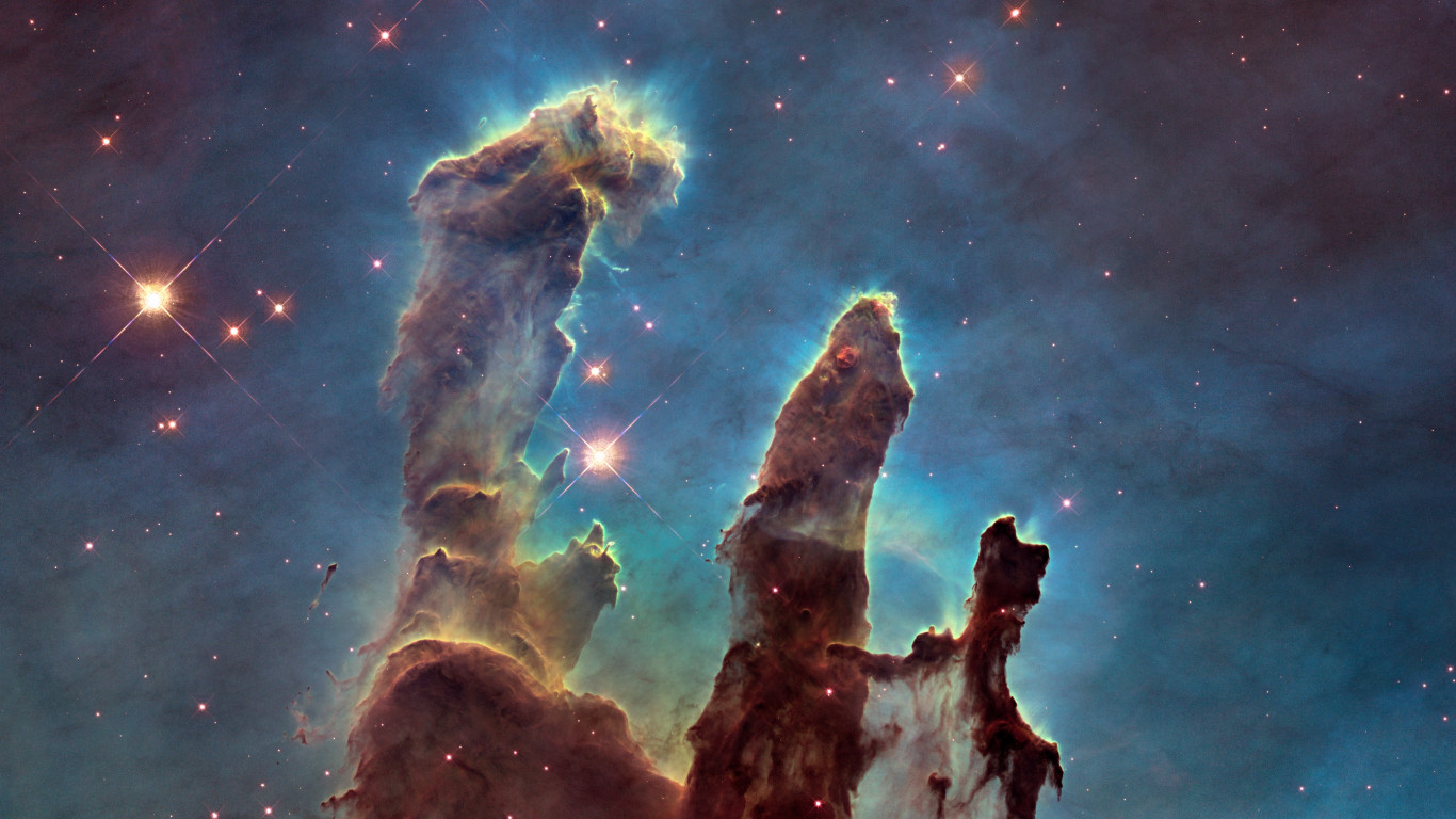 The Eagle Nebula's Pillars of Creation wallpaper 1366x768
