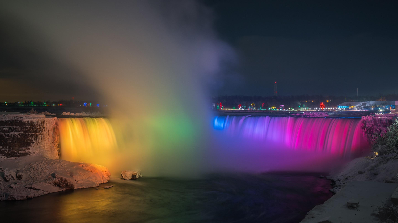 Download Wallpaper Rainbow Over Niagara Falls 2880x1620