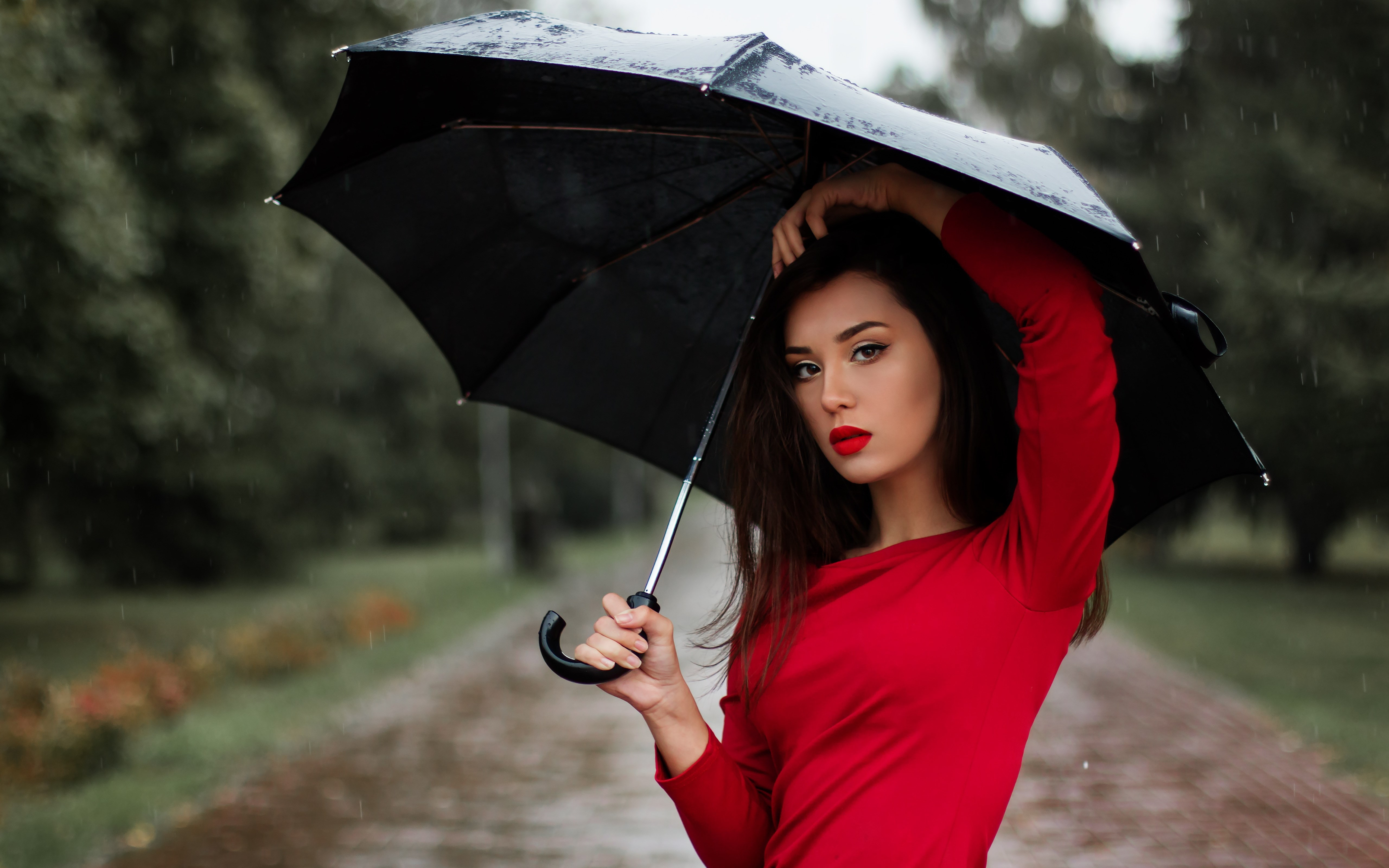 Beauitful girl in a rainy day wallpaper 5120x3200