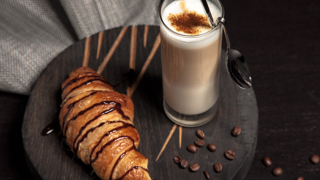 Cappuccino and chocolate croissant wallpaper 1280x720