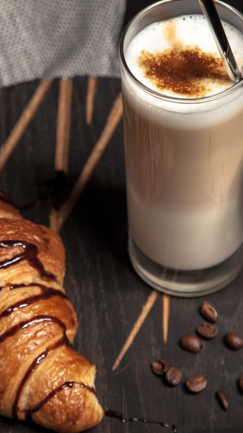 Cappuccino and chocolate croissant wallpaper 480x854
