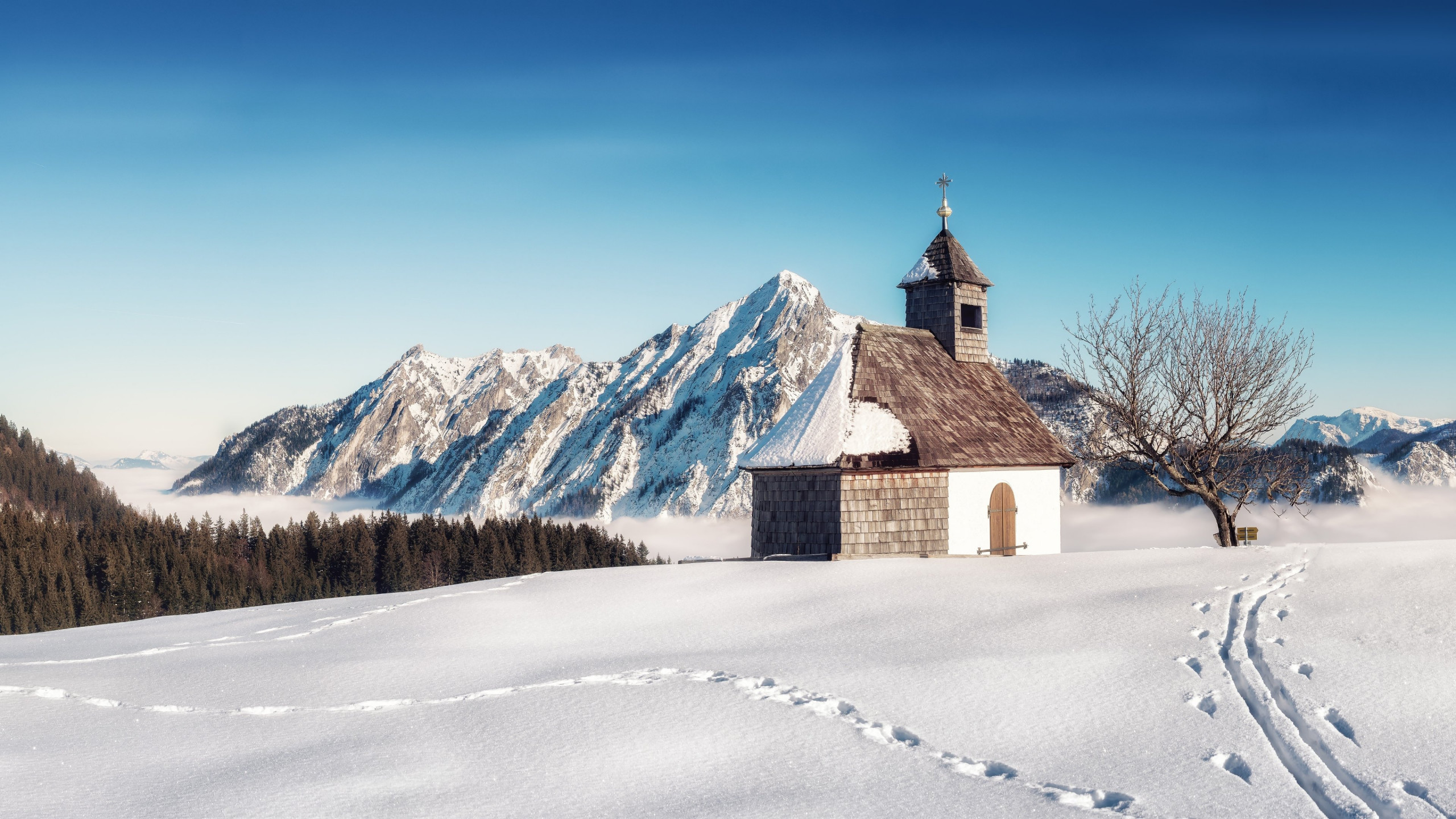 Alpine Winter landscape from Strobl, Austria wallpaper 2560x1440