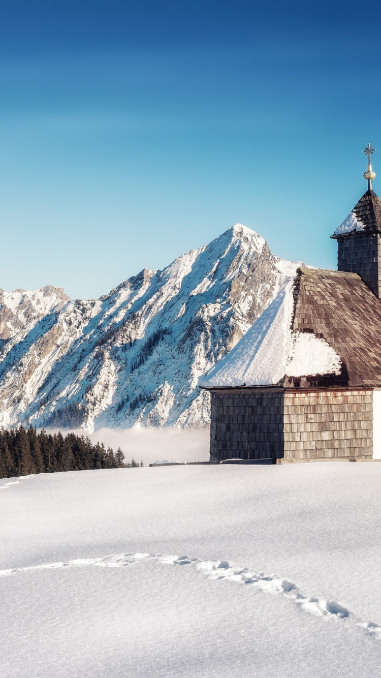 Alpine Winter landscape from Strobl, Austria wallpaper 750x1334