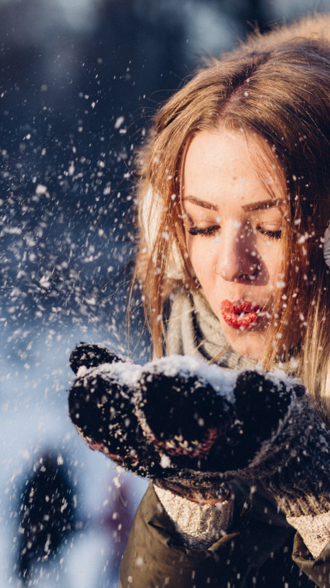 Beautiful girl in Winter landscape wallpaper 480x854