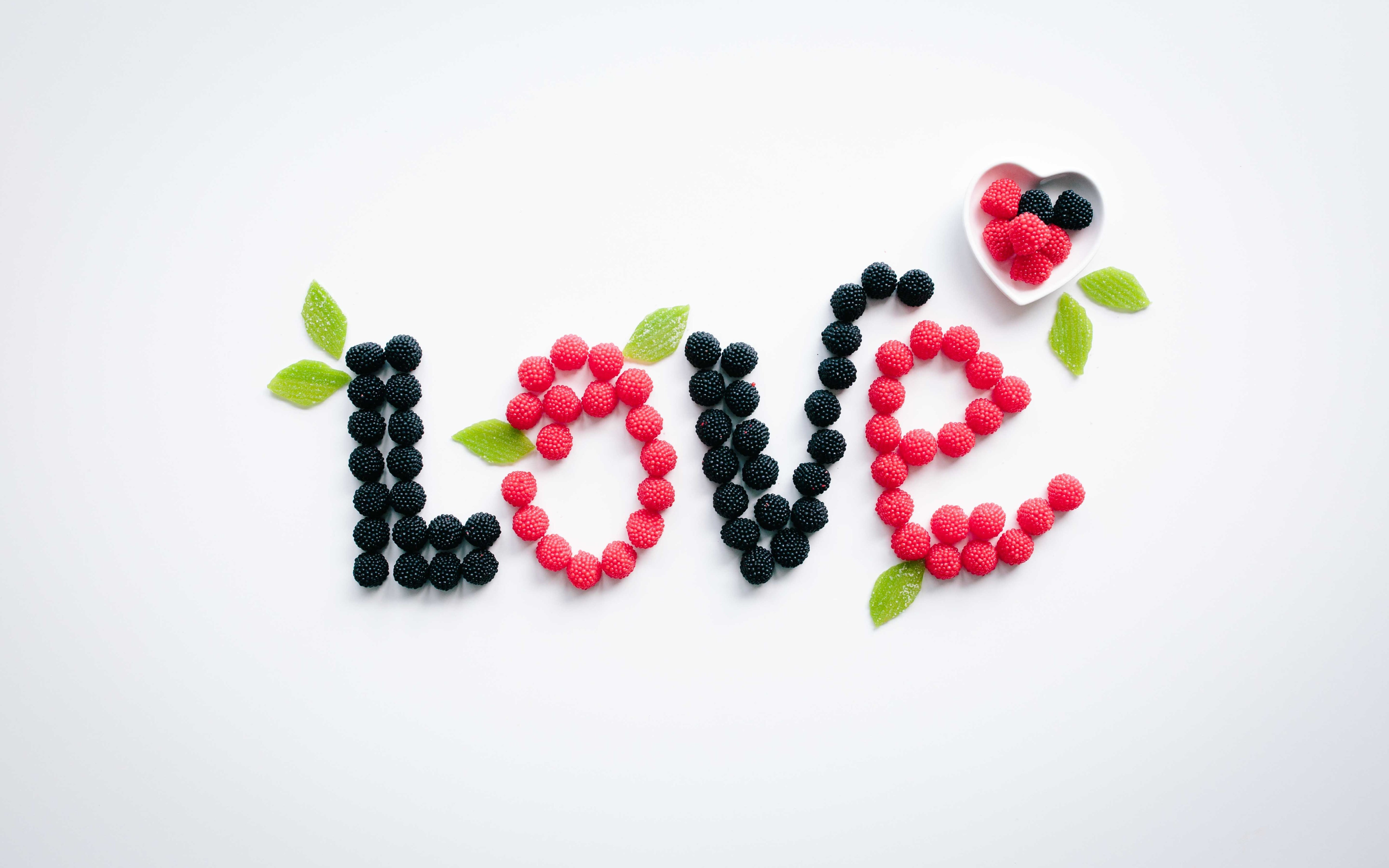 Love message with fruits | 5120x3200 wallpaper