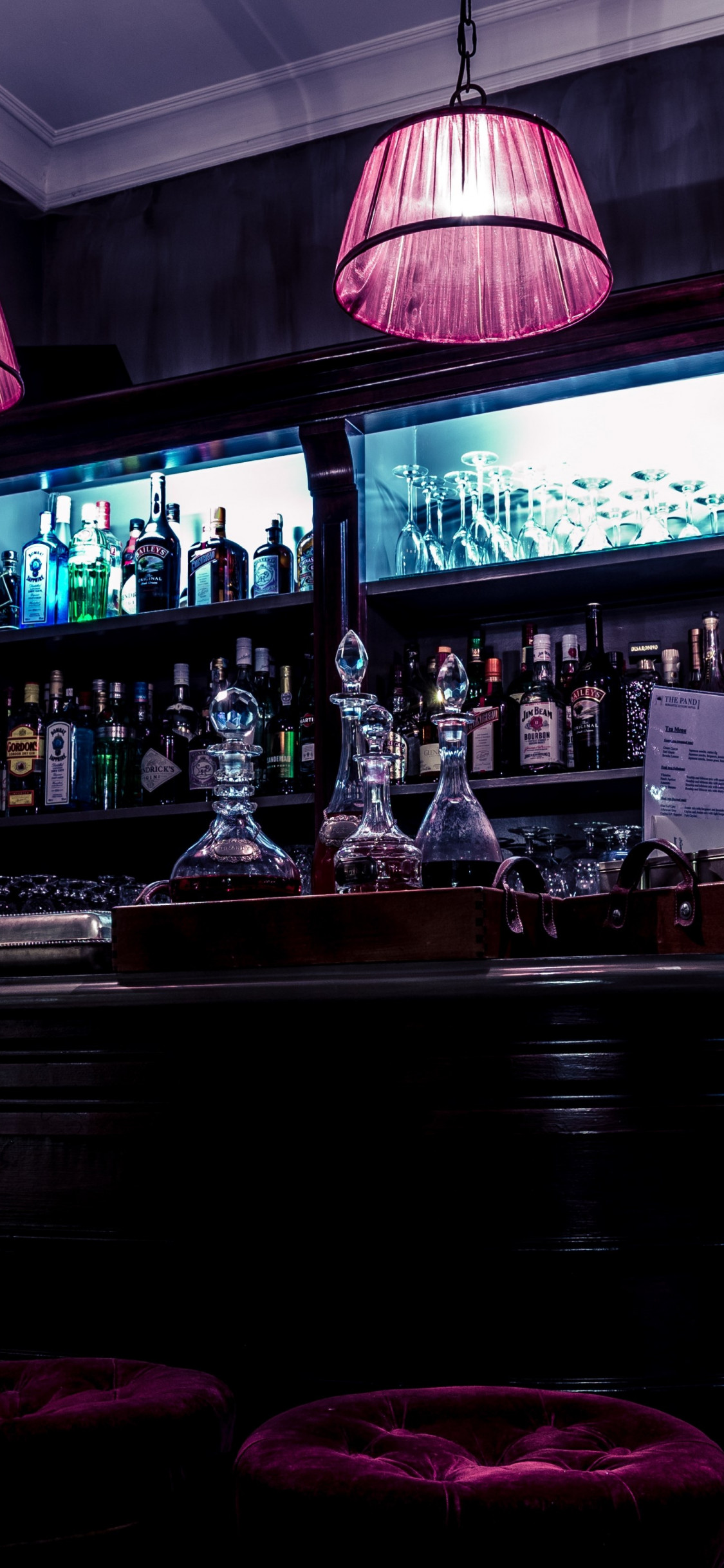 Interior bar design wallpaper 1125x2436