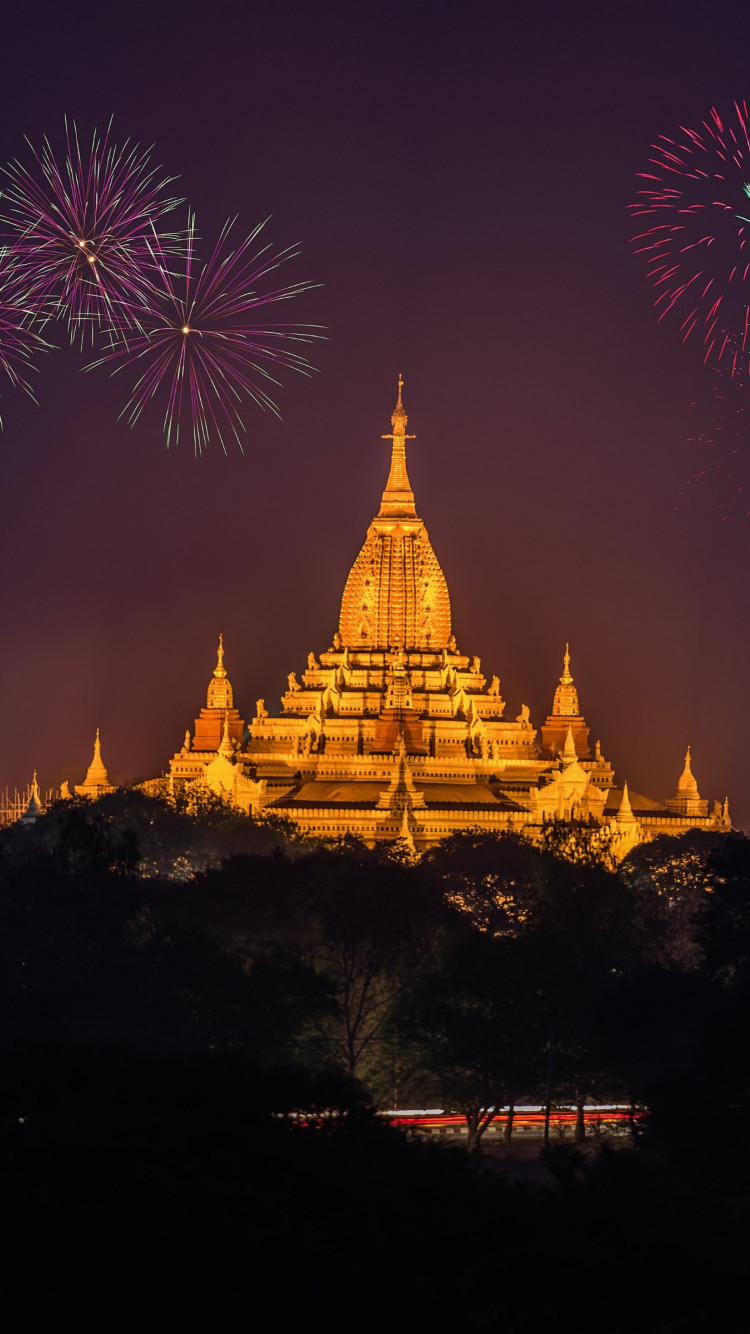 Fireworks above Ananda Phato temple | 750x1334 wallpaper