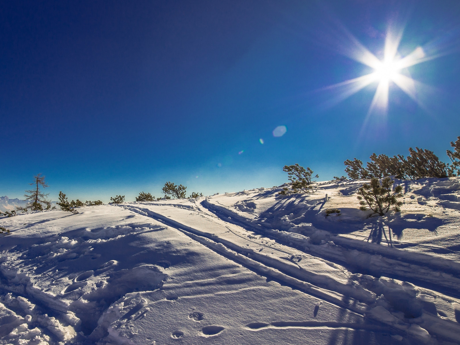 Sunny day in this Winter landscape wallpaper 1600x1200